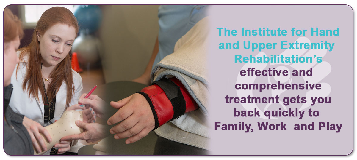 Heat and Stretching may be used to improve motion which may be challenging to achieve. We fabricate custom orthotics to patients to maximize the fit and provide specific needs of patients.  We use orthotics to provide immobilization following surgery, to promote motion at a specific joint or to rest an inflammed area such as an arthritic hand.    They are often needed to meet post operatvie needs or are a better fit for resting and support on an area where prefabricated braces are not adequate.   The Hand Institute's effective and comprehensive treatment gets you back quickly to Family, Work and Play